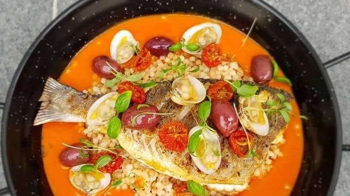 Pearl barley rissoto tomato broth Seabream and olives