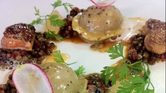 Braised pork ravioli with lentil