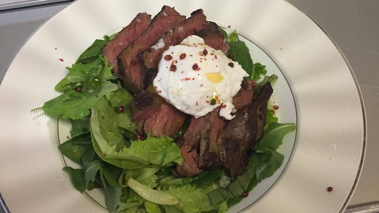 Steak and poached egg salad