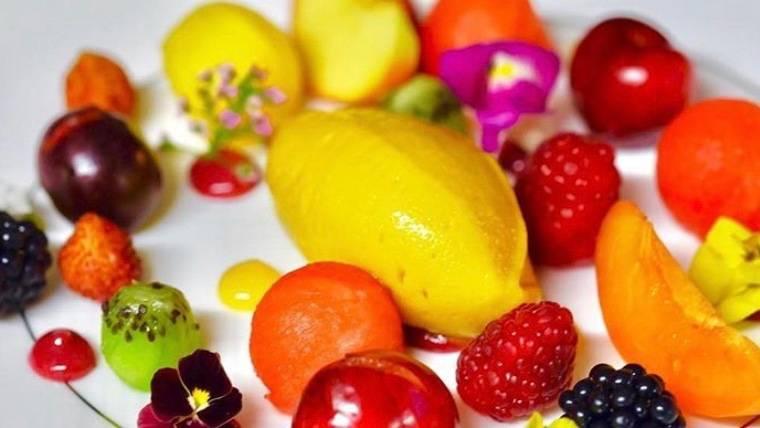 Mango Sorbet and Fruit Salad