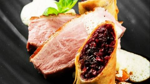 Pink roasted Duck Breast with Red Cabbage Spring Roll
