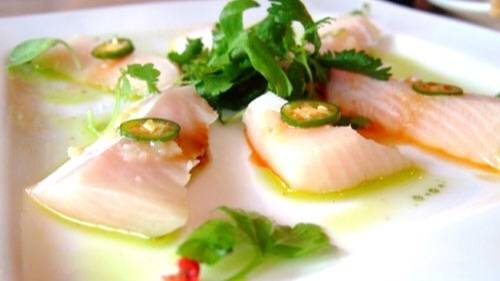 yellowtail sashimi and mango puree - 500×375