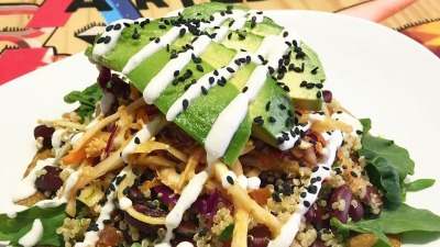 Open Mexican Taco with Quinoa Red Kidney Beans topped with Coleslaw Avocado and Sour Cream Sergio Ruz Sánchez