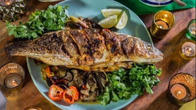 Levi roots baked sea bass