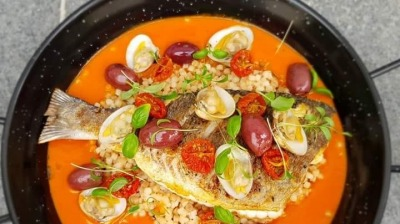 Pearl barley rissoto tomato broth Seabream and olives