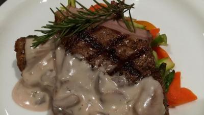 Marinade grill steak Fresh medley Vegetables Mushroom Sauce