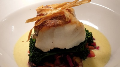 Raised cod with beurre blanc