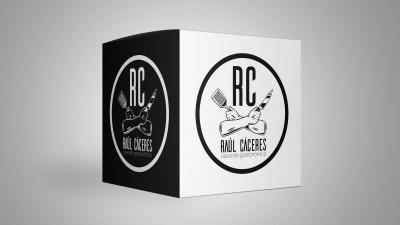 Raúl Cáceres logo hipster mockup cubo