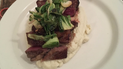 Aged Ribeye cauliflower puree cauliflower greens