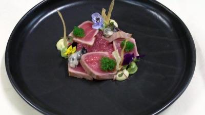 Tataki tuna oysters tapioca tobiko shiso