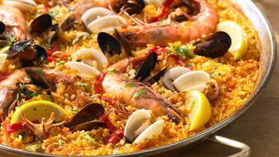 Mixed seafood paella