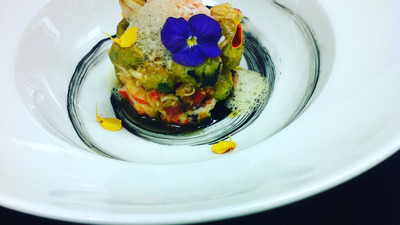 Olivs gnocchi with king crab confit cherry tomato and bisque foam!