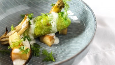 Oodiesfeed com cabbage roll with roasted vegetables and horseradish sauce 0