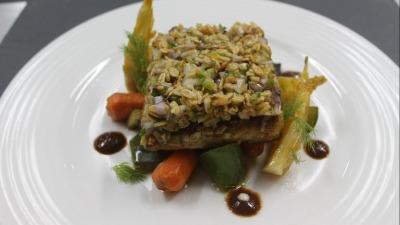 Filet de Flétan pane au quinoa petit légumes du jardin