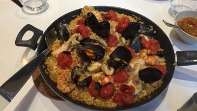Paella with fish and shell fish
