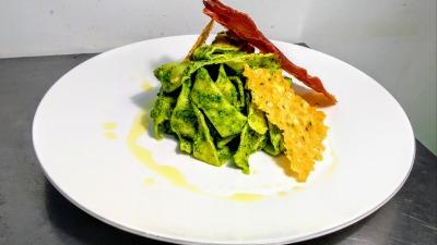 Handmade tagliatelle rocket pesto crispy prosciutto crispy parmezan