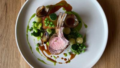 Lamb peas courgette