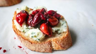 Wild cherries on toast