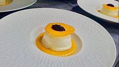 Oeuf parfait butternut cumin et caviar osciètre