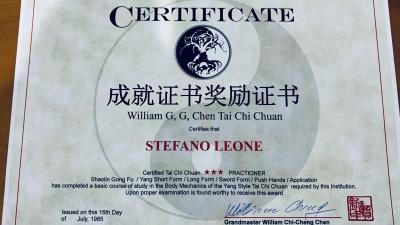 Shaolin Gong Fu Certificate