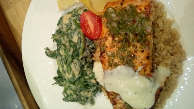Broiled Salmon with White Chocolate Sauce Quinoa and Creamed Spinach