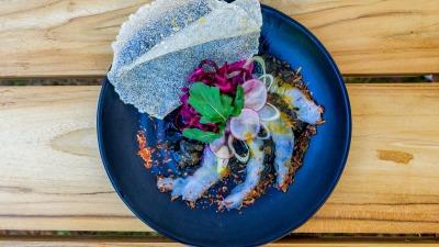 Shrimp carpacio with caramel maracuja sauce Top 2