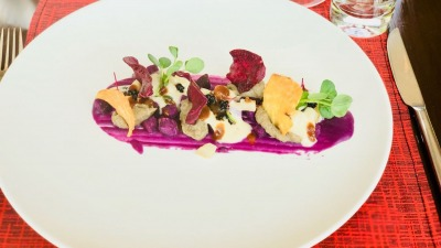 Jerusalem Artichoke foam sweet potato in all its textures aged balsamic caviar