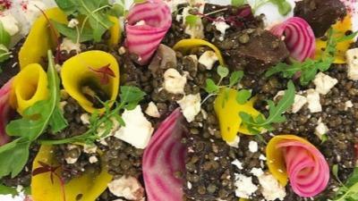 Lentille feta pickled beetroot salad sharing platter