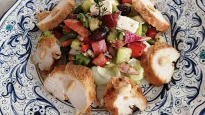 Satay chicken with Greek Salad