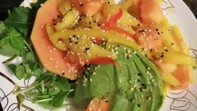 Avocado & Papaya Salad with sesame dressing