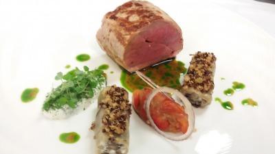 Lamb saddle aubergine dumpling tzatziki