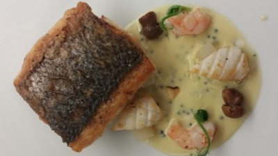 Seafood seabass caviar beurre blanc