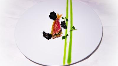 Piatto triglia e gel di basilico
