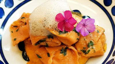 Tomato cappelletti veal and rocotta filled butter & sage cauliflower air