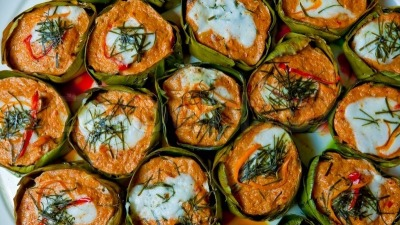 Steamed fish curry in banana leaves