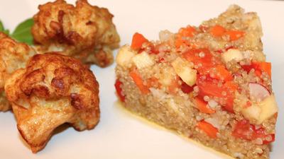 Nsalada quinoa y coliflor rebozada