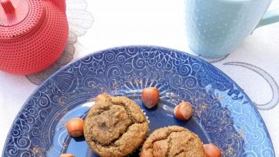 Muffin de plàtano relleno de crema de chocolate