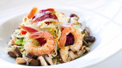 Close up Shrimp salad