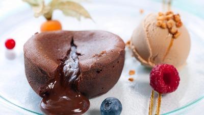 Hot Chocolate coulant cake dessert