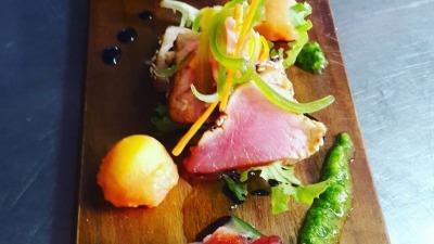Trio of Bluefin Tuna with melon and corriander pesto
