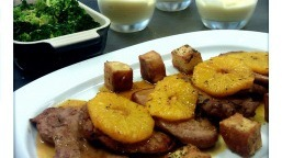 Escalopes of pork with orange sauce