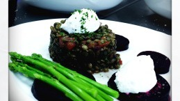 Green lentils salad with roasted beetroot and goats cheese