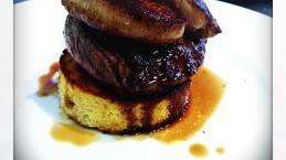 Steak foie gras and brioche