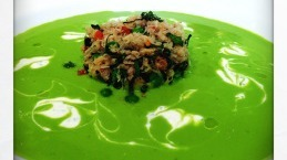 Pea soup with crab