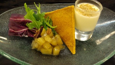 Goat cheese panocotta with apple chutney & buttered Crisp