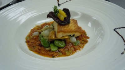 Grilled salmon with Italian Beans Stew