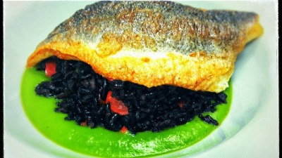 Black Rice with Roasted Peppers on Pea Puree and Crispy Skin Sea Bass