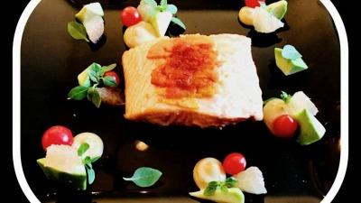 Salmon Loin with Roasted Mullet Roe Avocado Pink Grapefruit Greek Basil Liquorice Sauce Pearl Tomato