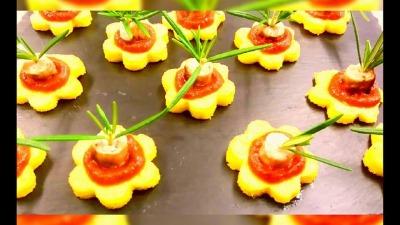 Polenta Flowers With Freshly Made Tomato Salsa Rosemary
