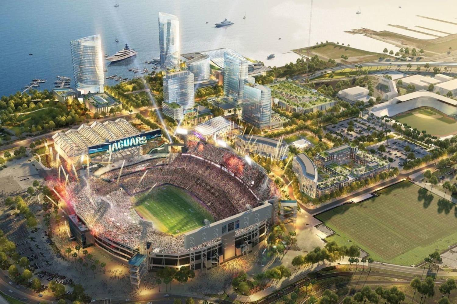 Areal view of Jacksonville Stadium - Take a Chef